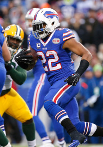 Dec 14, 2014; Orchard Park, NY, USA; Buffalo Bills running back Fred Jackson (22) runs the ball during the second half against the Green Bay Packers at Ralph Wilson Stadium. The Bills beat the Packers 21-13. Mandatory Credit: Kevin Hoffman-USA TODAY Sports