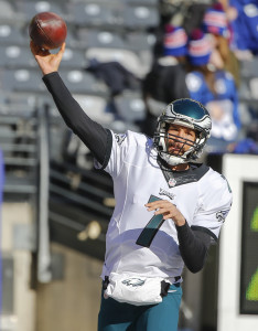 Jan 3, 2016; East Rutherford, NJ, USA; Philadelphia Eagles quarterback Sam Bradford (7) prior to the game against the New York Giants at MetLife Stadium. Mandatory Credit: Jim O'Connor-USA TODAY Sports
