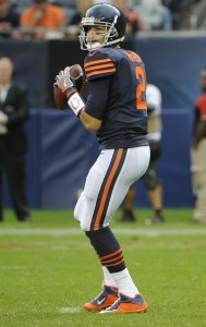Oct 2, 2016; Chicago, IL, USA; Chicago Bears quarterback Brian Hoyer (2) against Detroit Lions at Soldier Field. Mandatory Credit: Matt Marton-USA TODAY Sports