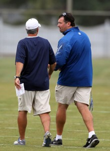 Jul 30, 2013; Indianapolis, IN, USA; Indianapolis Colts coach Chuck Pagano (left) talks to team president Ryan Grigson during training camp at Anderson University. Mandatory Credit: Brian Spurlock-USA TODAY Sports