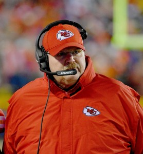 Dec 25, 2016; Kansas City, MO, USA; Kansas City Chiefs head coach Andy Reid walks on the sidelines during the first half against the Denver Broncos at Arrowhead Stadium. Mandatory Credit: Denny Medley-USA TODAY Sports