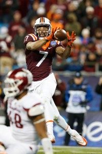 Dec 29, 2016; Charlotte, NC, USA; Virginia Tech Hokies tight end Bucky Hodges (7) catches a pass during the second quarter against the Arkansas Razorbacks during the Belk Bowl at Bank of America Stadium. Mandatory Credit: Jeremy Brevard-USA TODAY Sports