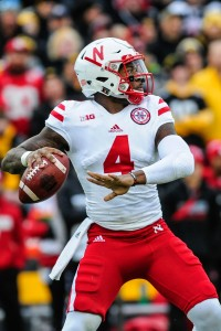 Nov 25, 2016; Iowa City, IA, USA; Nebraska Cornhuskers quarterback Tommy Armstrong Jr. (4) throws a pass during the first quarter against the Iowa Hawkeyes at Kinnick Stadium. Mandatory Credit: Jeffrey Becker-USA TODAY Sports